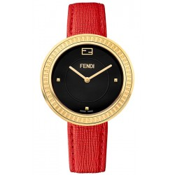F350431073 Fendi My Way Yellow Gold Red Leather 36 mm Watch