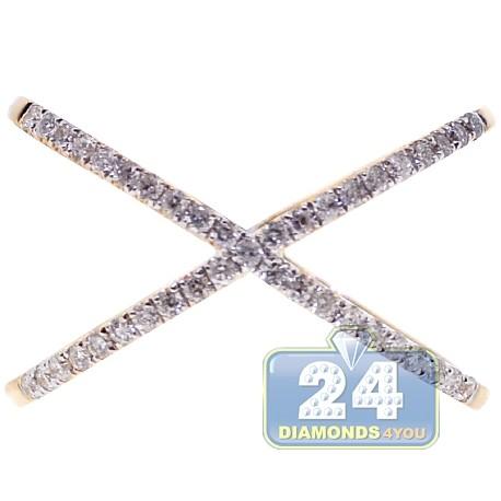 14K Yellow Gold 0.33 ct Diamond Womens Criss Cross Ring