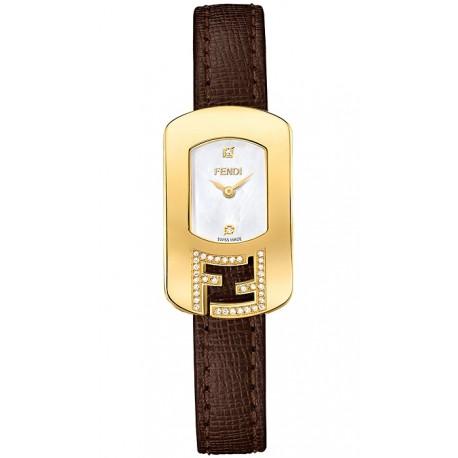 F300424521C1 Fendi Chameleon Diamond Yellow Gold Case Brown Leather Watch 18mm