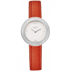 F350024073 Fendi My Way Steel White Dial Red Leather 28 mm Watch