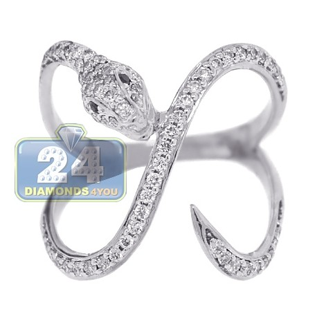 18K White Gold 0.54 ct Diamond Womens Winding Snake Ring