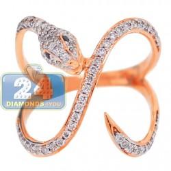 18K Rose Gold 0.54 ct Diamond Womens Winding Snake Ring