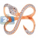18K Rose Gold 0.54 ct Diamond Womens Winding Snake Ring