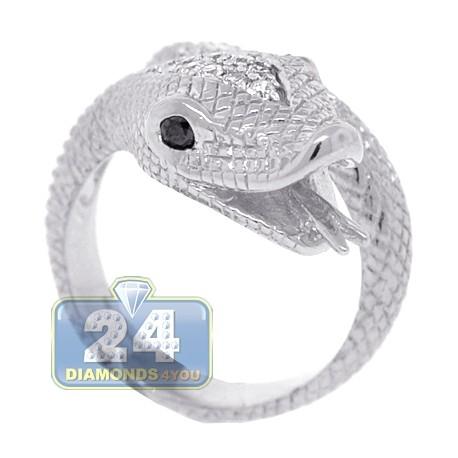 18K White Gold 0.40 ct Diamond Womens Snake Head Ring