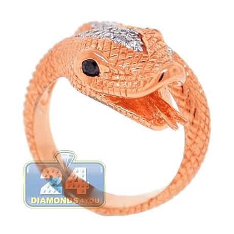 18K Rose Gold 0.40 ct Diamond Womens Snake Head Ring