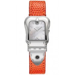Fendi B.Fendi Orange Lizard Leather Watch F382024591D1