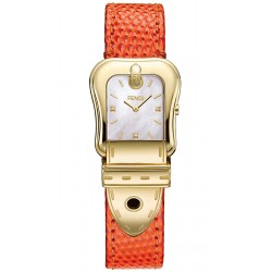 Fendi B.Fendi Yellow Gold Orange Leather Watch F382424591D1