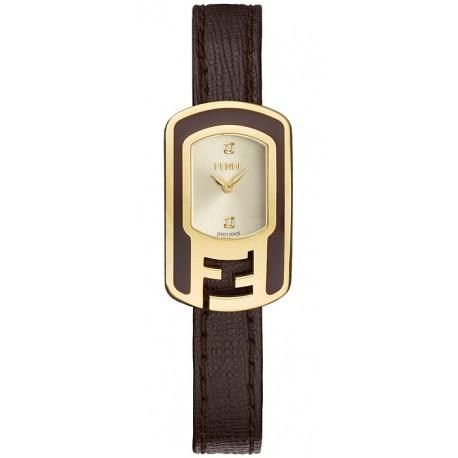 F312425021D1 Fendi Chameleon Brown Enamel Yellow Gold Watch 18mm