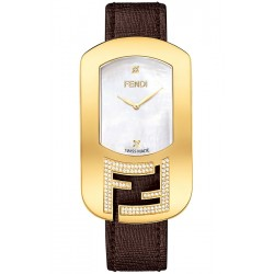 F300434521C1 Fendi Chameleon Diamond Yellow Gold Brown Leather Watch 29mm
