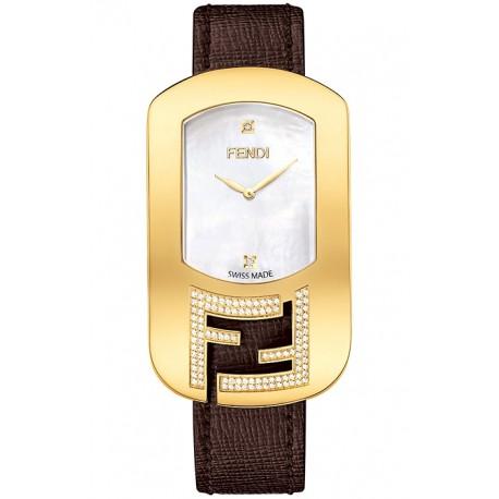 F300434521C1 Fendi Chameleon Diamond Yellow Gold Brown Leather Watch 29mm