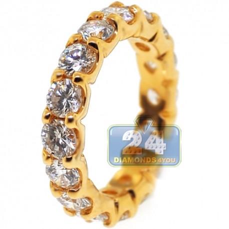 18K Yellow Gold 4.00 ct Round Diamond Womens Eternity Ring