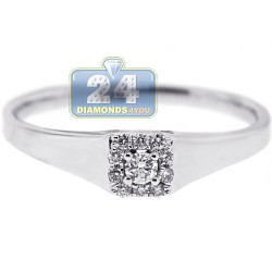18K White Gold 0.13 ct Diamond Womens Engagement Solitaire Ring