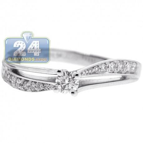 18K White Gold 0.29 ct Diamond Openwork Engagement Ring