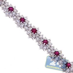 Womens Diamond Ruby Tennis Bracelet 18K White Gold 8.29 ct 7""