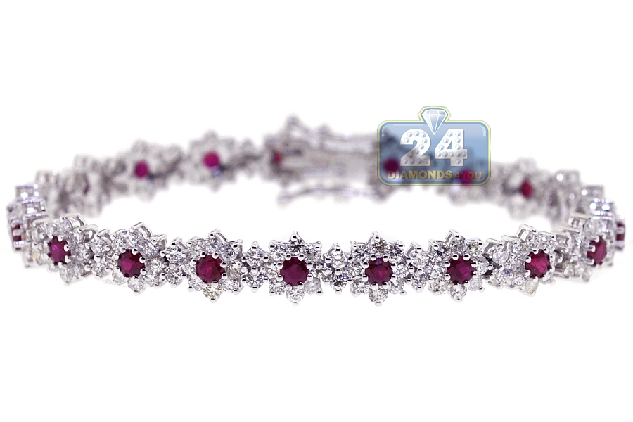 Womens Diamond Ruby Tennis Bracelet 18k White Gold 8 29 Ct 7 Quot