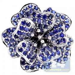 14K White Gold 2.74 ct Tanzanite Sapphire Womens Flower Ring