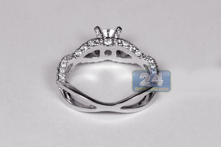 Womens Diamond Infinity Engagement Ring 18k White Gold 1 33 Ct