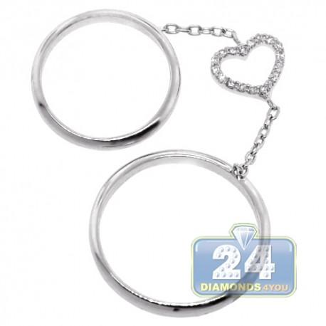 18K White Gold 0.10 ct Diamond Womens Double Heart Ring