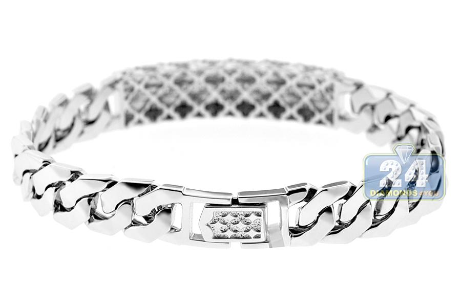 Mens Diamond Cuban Link Id Bracelet 18k White Gold 0 80 Ct 8 Quot