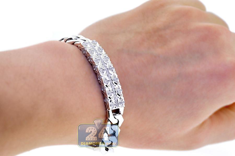 18K White Gold 0.80 ct Diamond Cuban Link Mens ID Bracelet 8 Inches