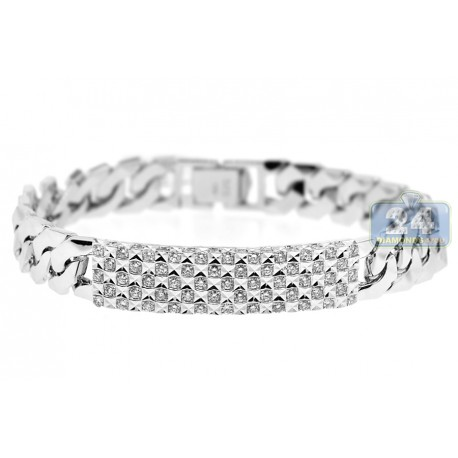 Mens Diamond Cuban Link ID Bracelet 18K White Gold 1.97 ct 8""