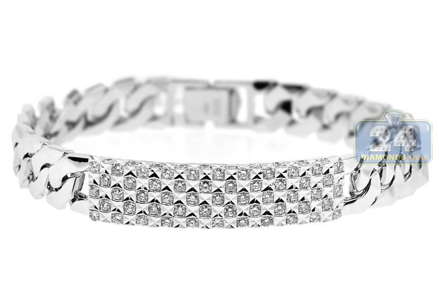 Diamond Cuban Link ID Bracelet 18K White Gold 197 ct 8