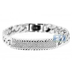 Mens Diamond Cuban Link ID Bracelet 18K White Gold 1.95 ct 8""