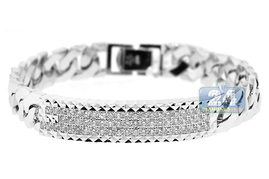 18k White Gold 1 95 Ct Diamond Cuban Link Mens Id Bracelet