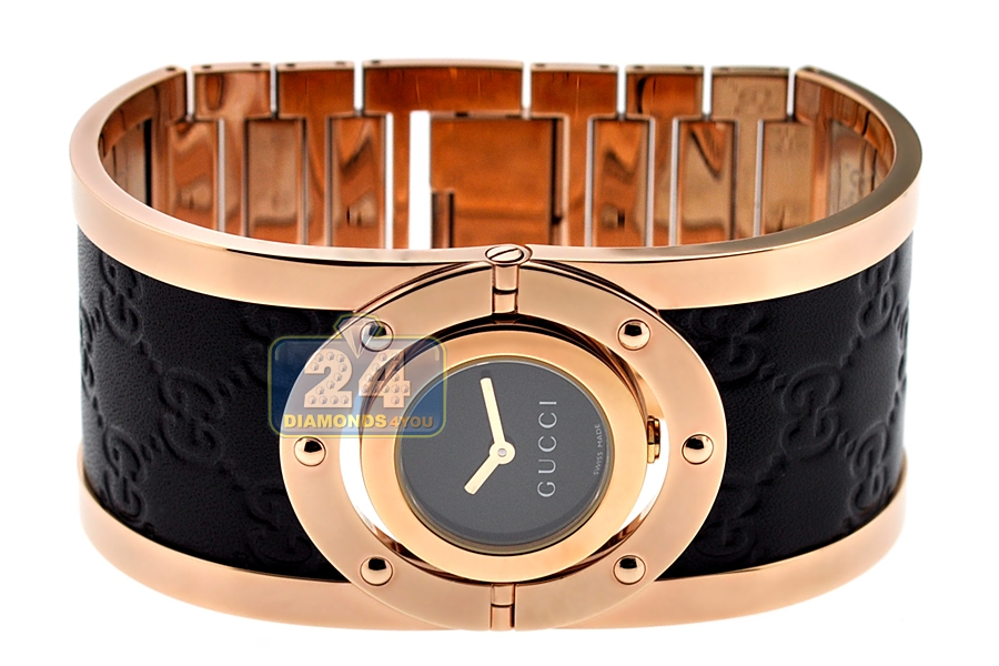 578eab0c042 Gucci Twirl Large Rose Gold Leather Womens Watch YA112438. Move your mouse  over image or click to enlarge. Previous. Next
