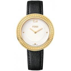 Fendi My Way Yellow Gold Black Leather 36 mm Watch F350434011