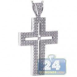 18K White Gold 0.77 ct Diamond Latin Cross Mens Necklace
