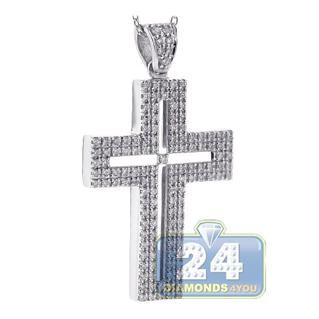 Mens Diamond Latin Cross Pendant Necklace 18K White Gold 0.77ct