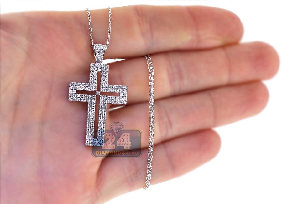 Mens Diamond Latin Cross Pendant Necklace 18k White Gold 0