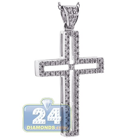 Womens diamond open cross pendant necklace 18k white gold 46ct aloadofball Images