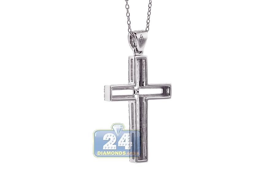 Womens diamond open cross pendant necklace 18k white gold 46ct aloadofball Gallery