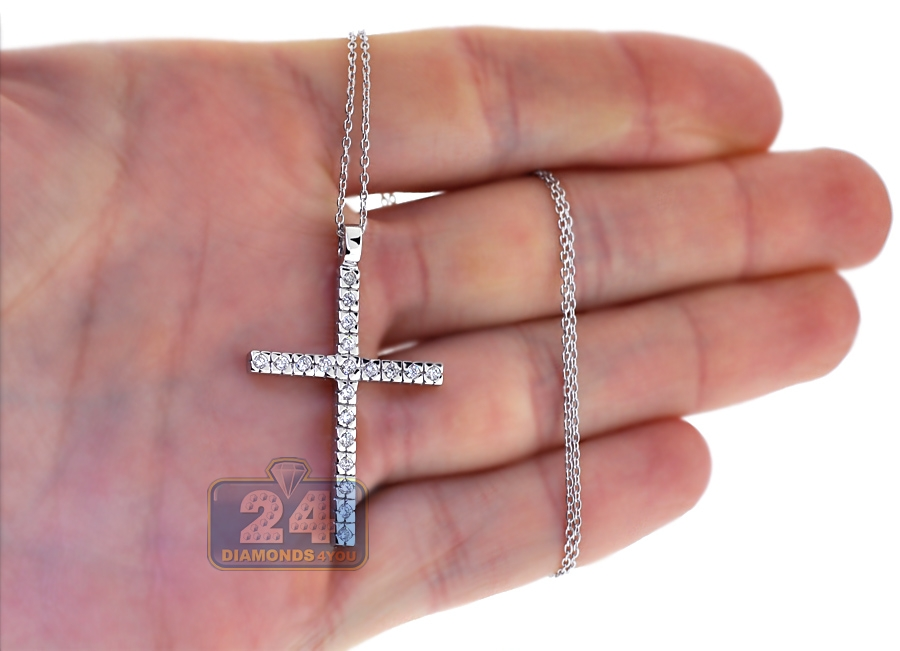 Womens diamond cross pendant necklace 18k white gold 050ct aloadofball Image collections