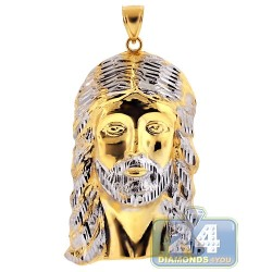 10K Yellow Gold Diamond Cut Jesus Christ Face Pendant 3 Inches
