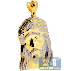 10K Yellow White Gold Jesus Christ Face Mens Pendant 2.5""