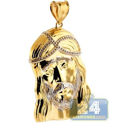 Solid 10K Yellow Gold Jesus Christ Face Mens Pendant 2 3/16""