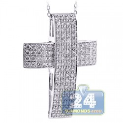 18K White Gold 1.71 ct Diamond Straight Cross Pendant Necklace