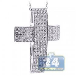 18K White Gold 1.71 ct Diamond Straight Cross Pendant Necklace