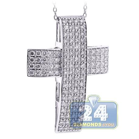 "Mens Diamond Straight Cross Pendant Necklace 18K White Gold 17"""