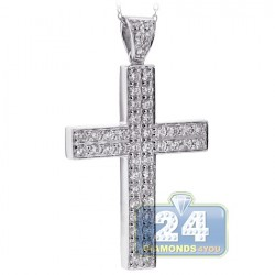 Mens Diamond Classic Cross Pendant Necklace 18K White Gold