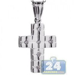 Womens Diamond Bold Cross Pendant Necklace 18K White Gold 0.12ct