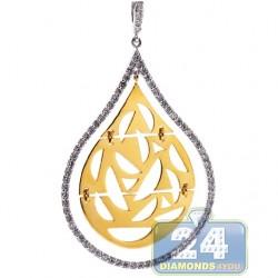 18K Two Tone Gold 0.59 ct Diamond Moon Islamic Drop Pendant