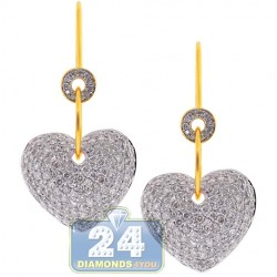 14K Yellow Gold 3.10 ct Diamond Womens Dangle Heart Earrings