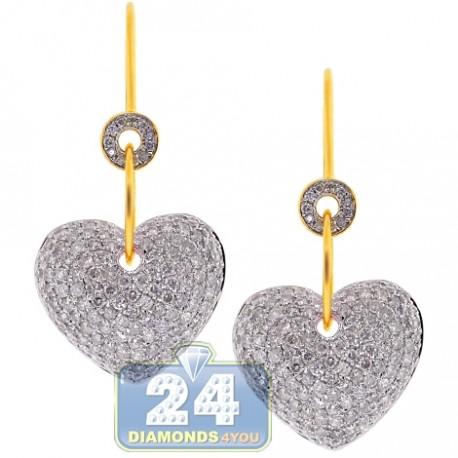 Womens Diamond Heart Dangle Earrings 14K Yellow Gold 3.10 ct