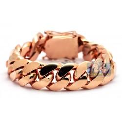 """Solid 14K Rose Gold Miami Cuban Link Mens Bracelet 19mm 9"""""""
