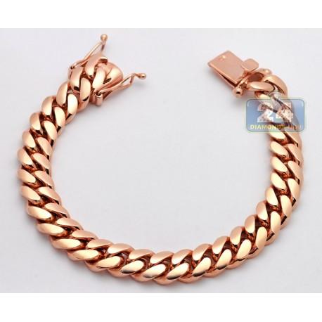 14K Rose Gold Miami Cuban Link Mens Bracelet 10.5 mm 8 Inches