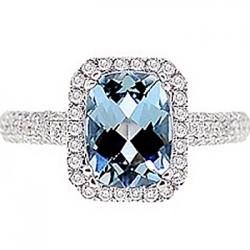 18K White Gold 2.52 ct Aquamarine Diamond Womens Engagement Ring